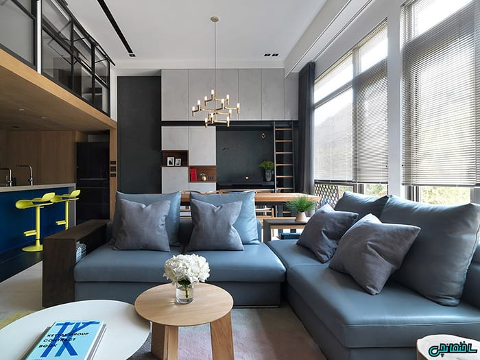 اتاق نشیمن به رنگ آبی