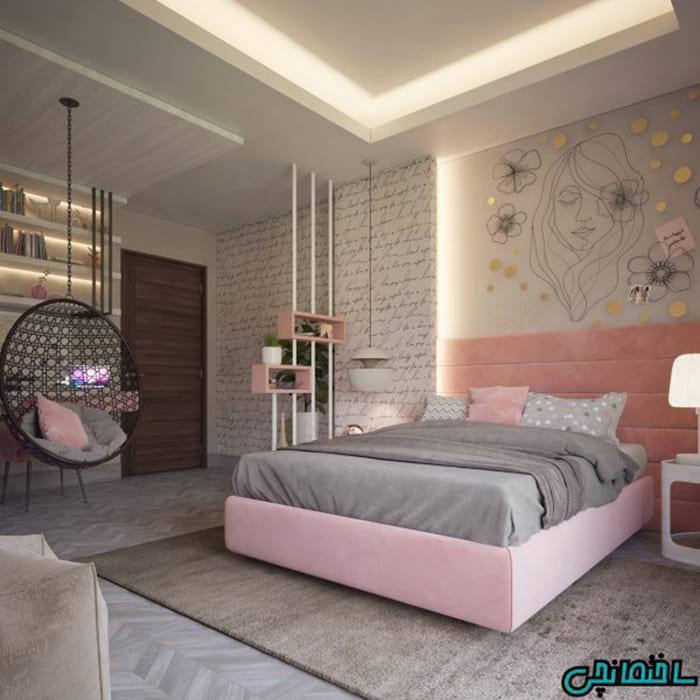 اتاق خواب دخترانه صورتی طوسی