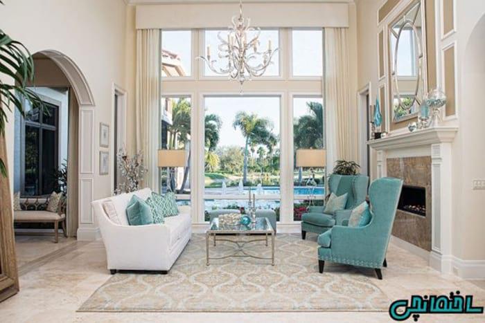 رنگ فیروزه ای در دکوراسیون داخلی خانه