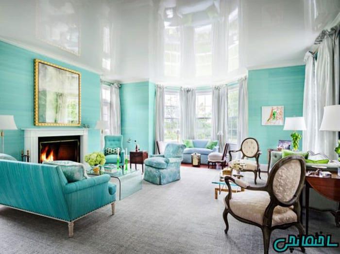 رنگ فیروزه ای در طراحی داخلی خانه