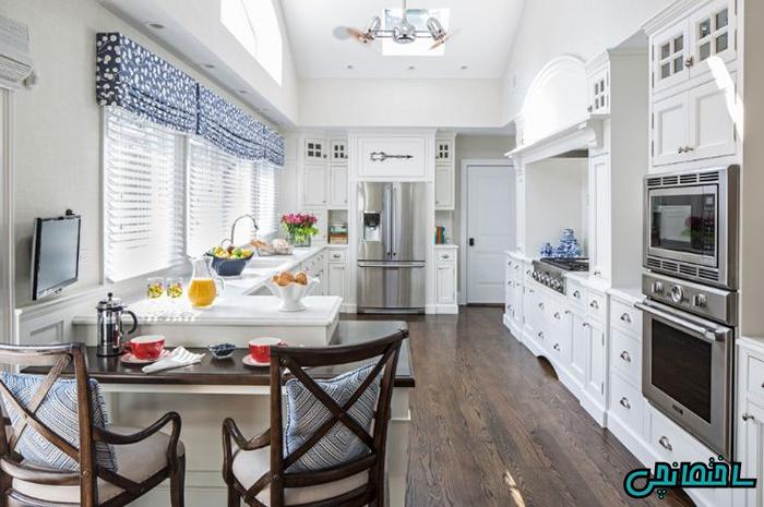 پرده آبی آشپزخانه