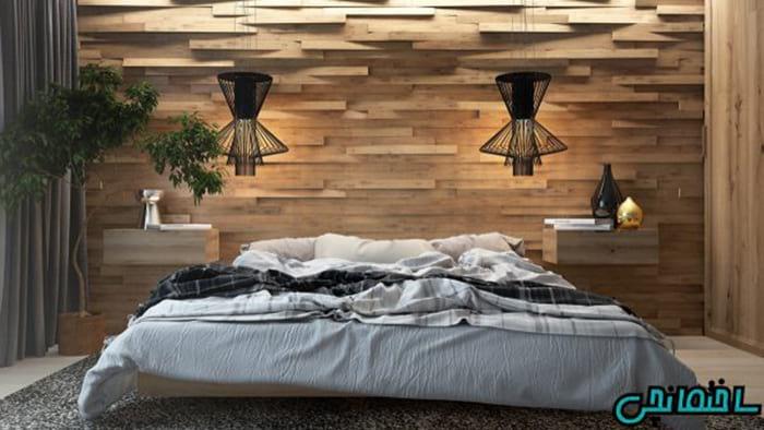 استفاده از پانل های چوبی برای تزئین دیوار پشت تخت خواب