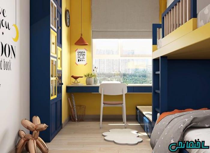 طراحی رنگ زرد در اتاق خواب بچه