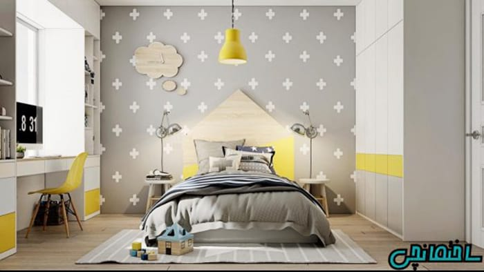 اتاق کوچک زرد و خاکستری