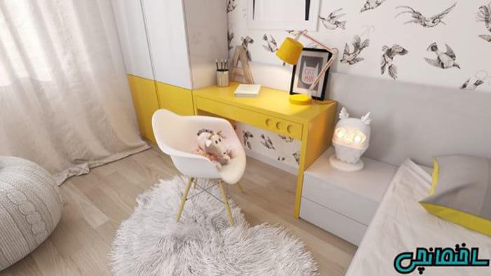 استفاده از میز زرد در اتاق کودک