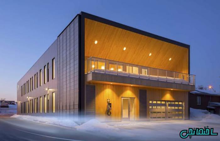 تصاویر نمای خارجی ساختمان با چوب