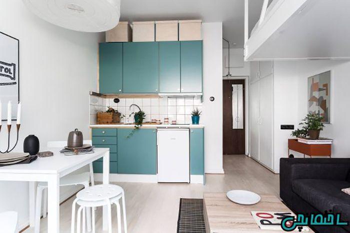 آشپزخانه سفید و آبی
