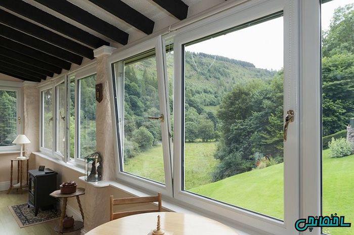 پنجره دو جداره دو طرف بازشو