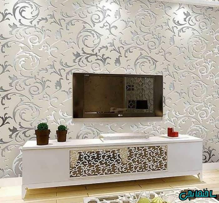 کاغذ دیواری داماسک پشت تی وی