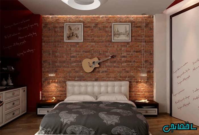 دیوار اجری اتاق خواب