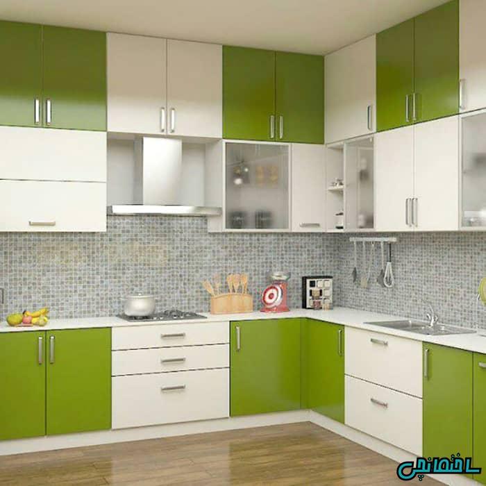 کابینت سفید سبز