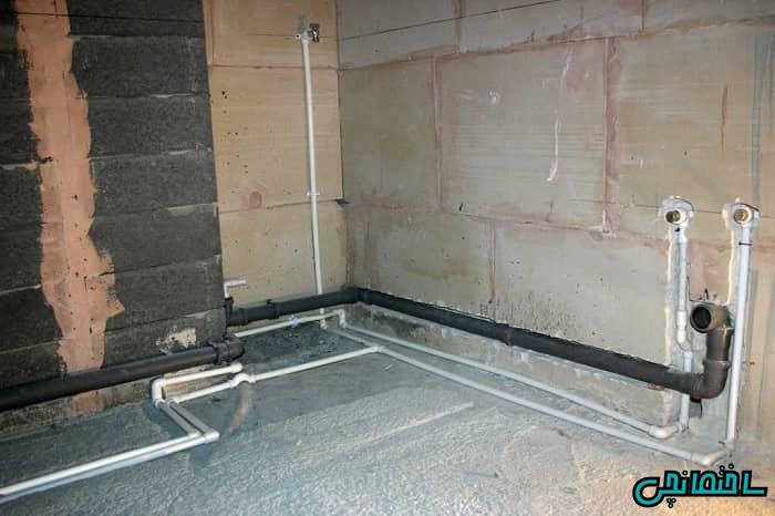 %عکس - شیب بندی لوله های فاضلاب در ساختمان