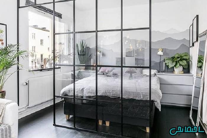 پارتیشن شیشه ای اتاق خواب
