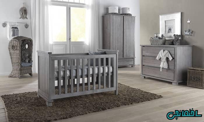 تخت خواب نوزاد طوسی