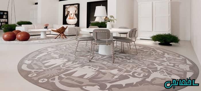 چیدمان متقارن فرش های گرد