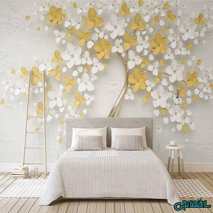 کاغذ دویاری سه بعدی دیوار پشت تخت خواب