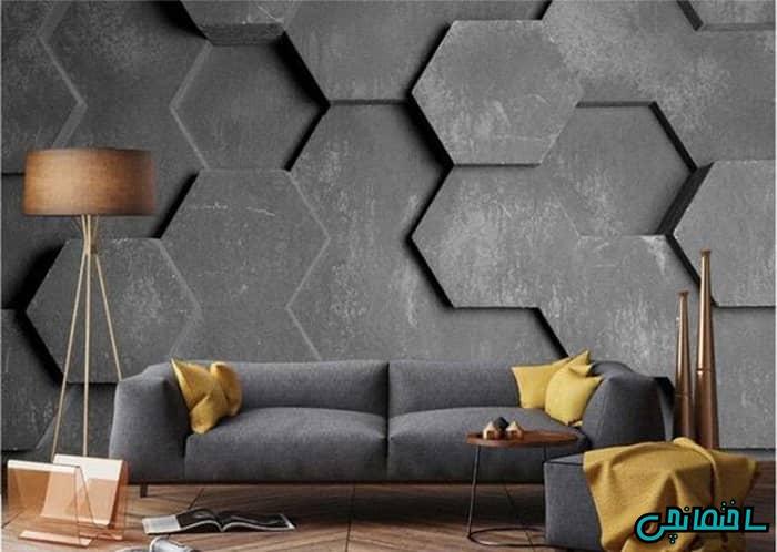 کاغذ دیواری سه بعدی پشت مبلمان