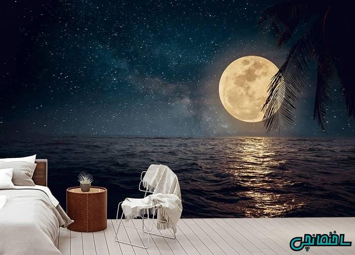 پوستر سه بعدی طرح دریا و ماه