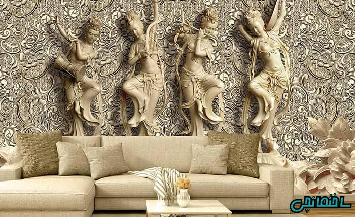 کاغذ دیواری سه بعدی طرح مجسمه