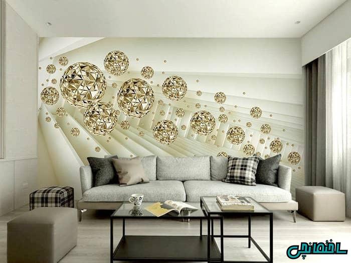 کاغذ دیواری سه بعدی طرح گوی طلایی