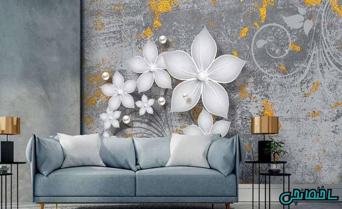 پوستر سه بعدی طرح گل و مروارید