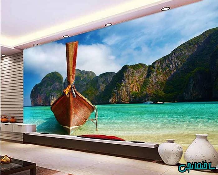 کاغذ دیواری سه بعدی طرح دریا و قایق