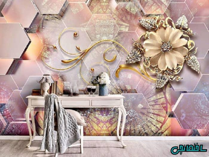 کاغذ دیواری سه بعدی طرح گل برجسته
