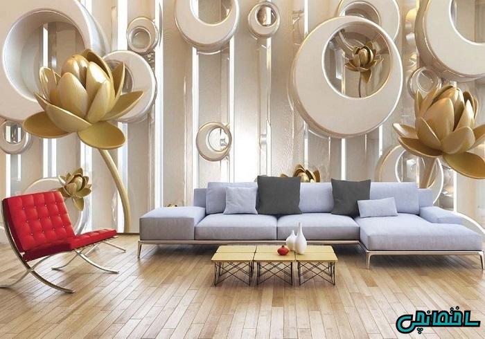 پوستر سه بعدی طرح گل طلایی