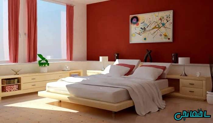 دیوار قرمز اتاق خواب