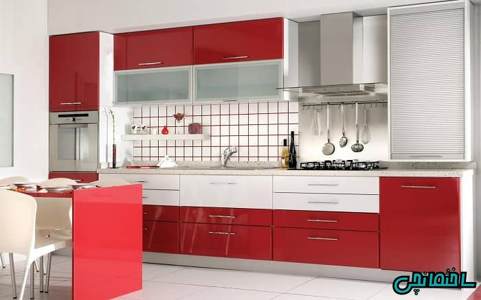 کابینت قرمز آشپزخانه