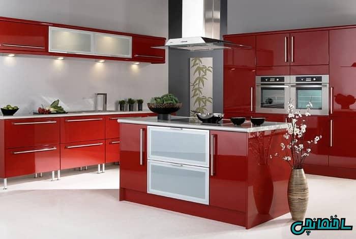 طراحی آشپزخانه قرمز
