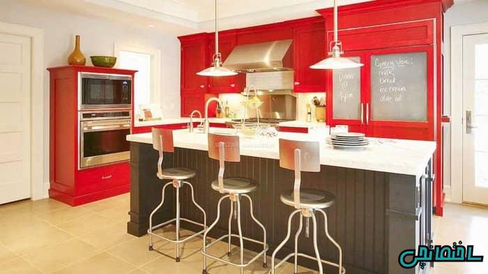 دیزاین قرمز آشپزخانه