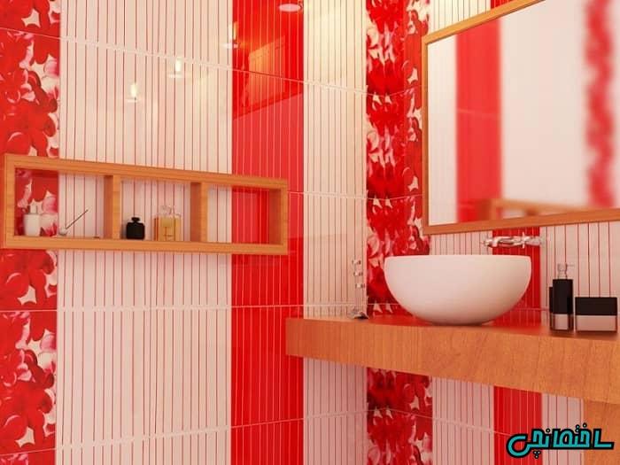 دیوار حمام قرمز