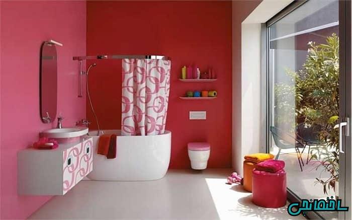 دیزاین قرمز حمام و سرویس بهداشتی