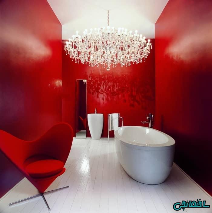 طراحی دکوراسیون حمام به رنگ قرمز