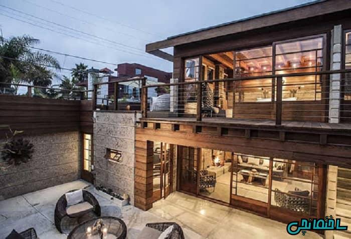 نمای ساختمان چوبی، سنگی و شیشه ای