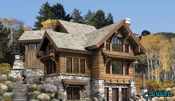 نمای ساختمان چوبی و سنگی