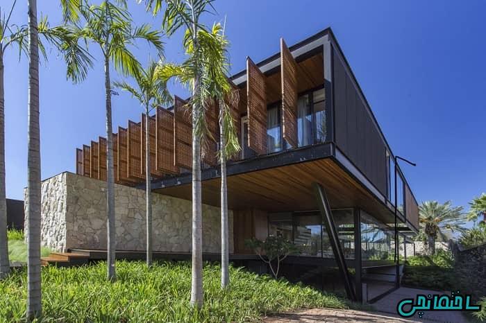 نمای ساختمان چوبی و فلزی