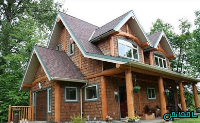 نمای ساختمان چوبی و آجری